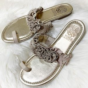 Vince Camuto gold leather rosettes toe sandals